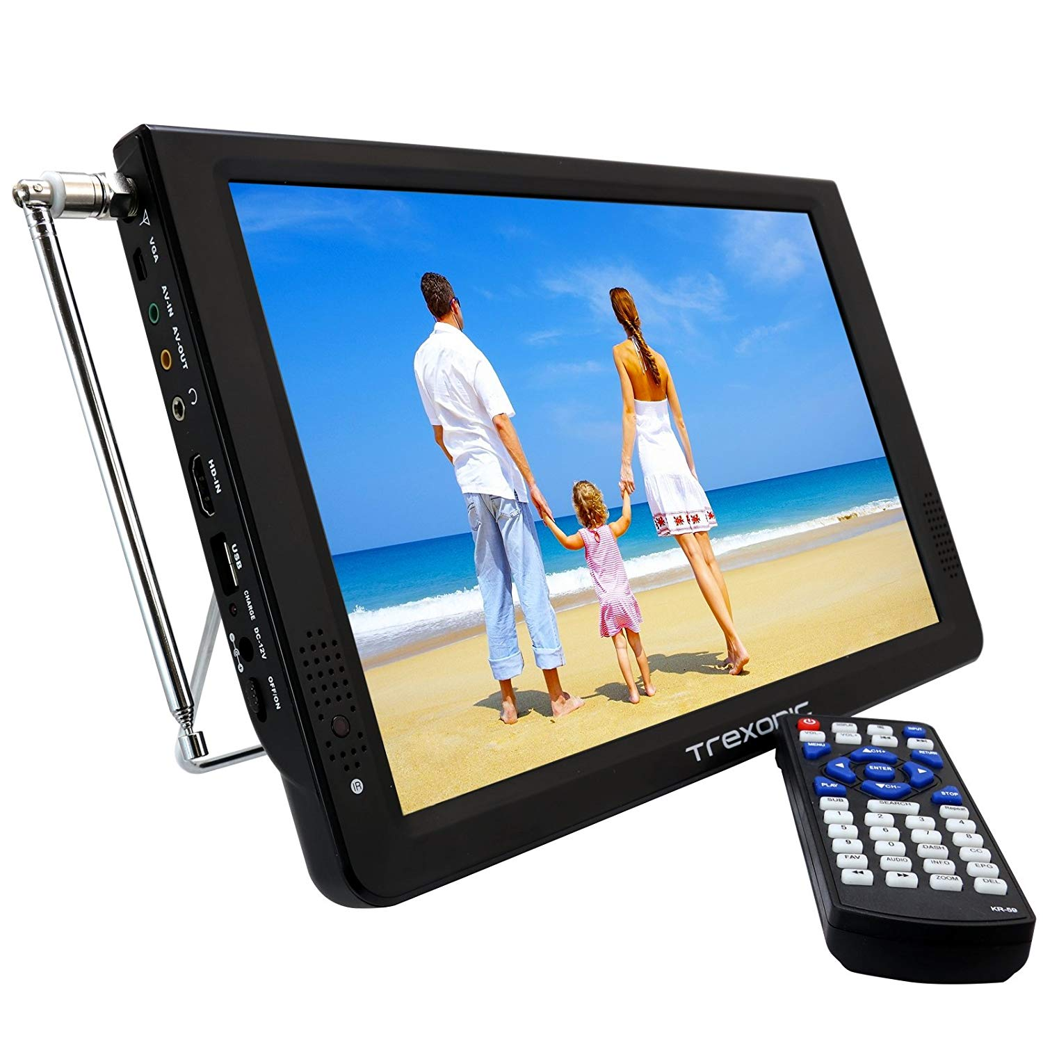 """Trexonic 12"""" Inch Rechargeable Portable TV For Camping"""