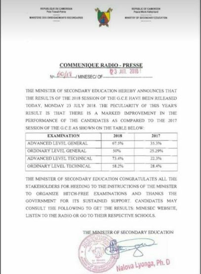 Cameroon GCE Results 2018 O L And A L General Edu